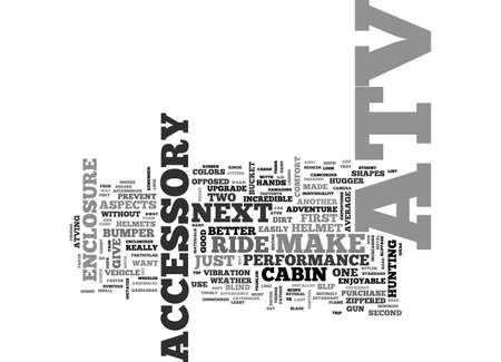 ATV ACCESSORIES TO MAKE THAT NEXT RIDE UNFORGETTABLE TEXT WORD CLOUD CONCEPT Çizim