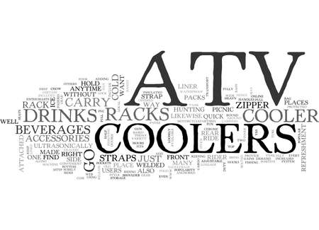 ATV COOLERS ON THE GO TEXT WORD CLOUD CONCEPT