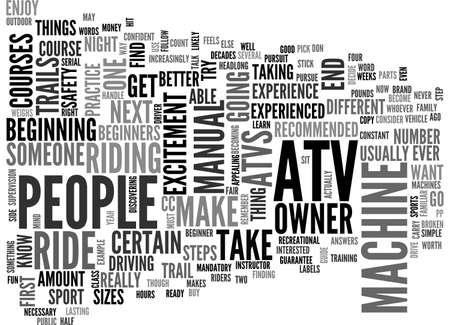 ATV FOR BEGINNERS TEXT WORD CLOUD CONCEPT
