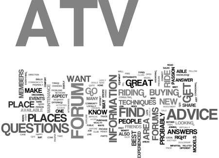 ATV FORUMS TEXT WORD CLOUD CONCEPT Illustration