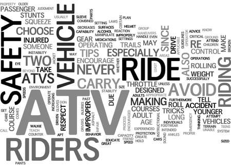 ATV SAFETY TIPS TEXT WORD CLOUD CONCEPT