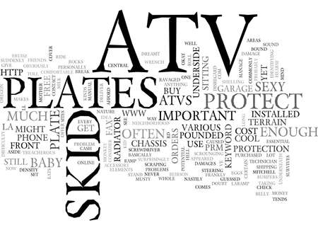 skid: ATV SKID PLATES TEXT WORD CLOUD CONCEPT Illustration