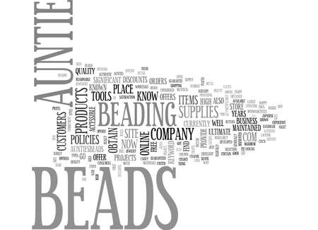 AUNTIES BEADS TEXT WORD CLOUD CONCEPT