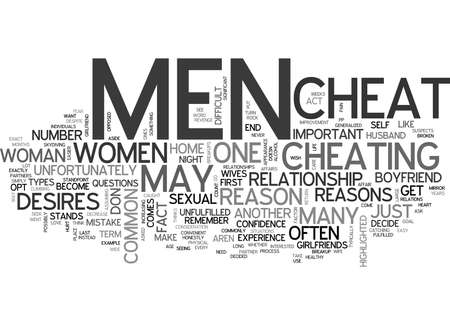 WHY DO MEN CHEAT ON THEIR PARTNERS TEXT WORD CLOUD CONCEPT Иллюстрация