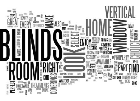 BENEFIT FROM THE STYLISH LOOK OF VERTICAL BLINDS TEXT WORD CLOUD CONCEPT