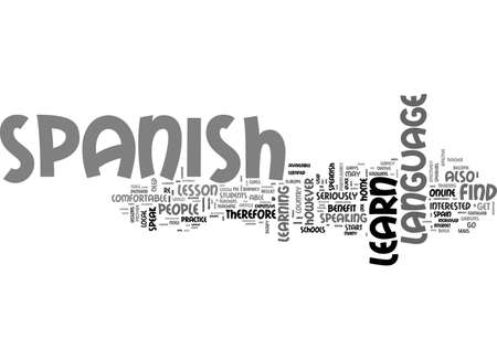 BENEFIT OF LEARN SPANISH ONLINE TEXT WORD CLOUD CONCEPT
