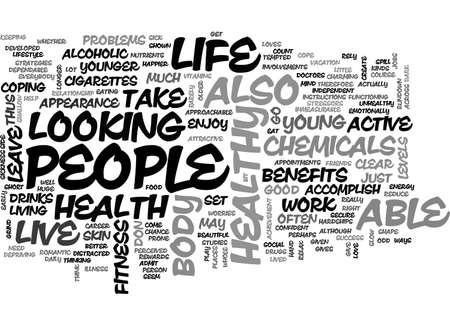 BENEFITS OF A LIFE OF HEALTH AND FITNESS TEXT WORD CLOUD CONCEPT Ilustração