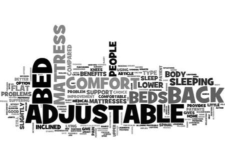 BENEFITS OF ADJUSTABLE BEDS TEXT WORD CLOUD CONCEPT