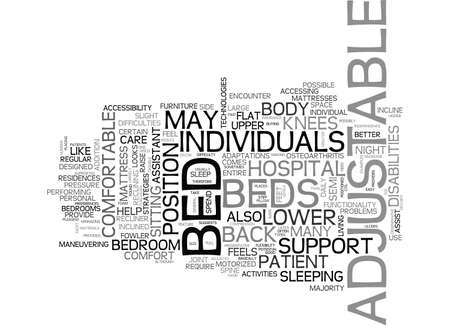 BENEFITS OF AN ADJUSTABLE BED TEXT WORD CLOUD CONCEPT