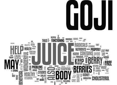 BENEFITS OF GOJI JUICE TEXT WORD CLOUD CONCEPT