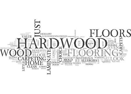 BENEFITS OF HARDWOOD FLOORS TEXT WORD CLOUD CONCEPT Ilustrace