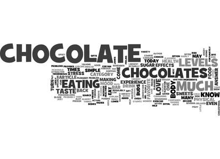 WHY DO WE LOVE TO EAT CHOCOLATE TEXT WORD CLOUD CONCEPT