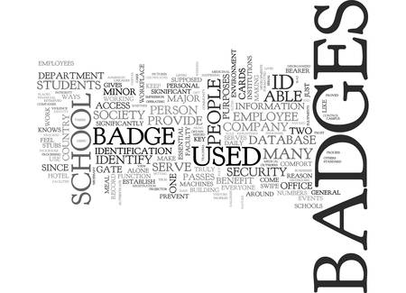 supposed: BENEFITS OF ID BADGES TEXT WORD CLOUD CONCEPT Illustration