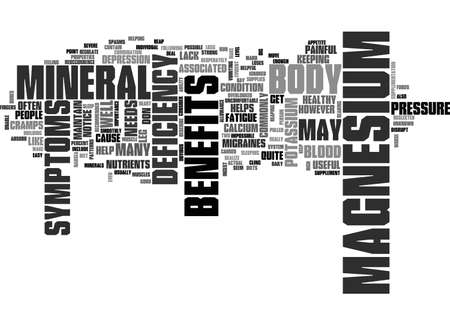 BENEFITS OF MAGNESIUM TEXT WORD CLOUD CONCEPT