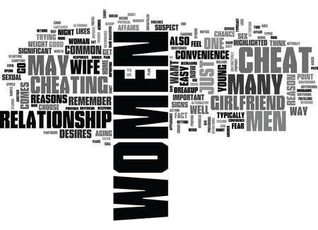 WHY DO WOMEN CHEAT ON THEIR PARTNERS TEXT WORD CLOUD CONCEPT