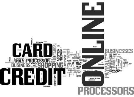 BENEFITS OF ONLINE CREDIT CARD PROCESSORS TEXT WORD CLOUD CONCEPT Ilustração