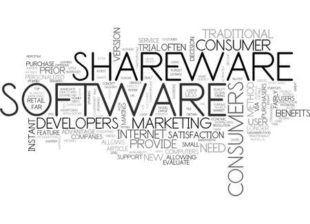 BENEFITS OF SHAREWARE TEXT WORD CLOUD CONCEPT Illustration