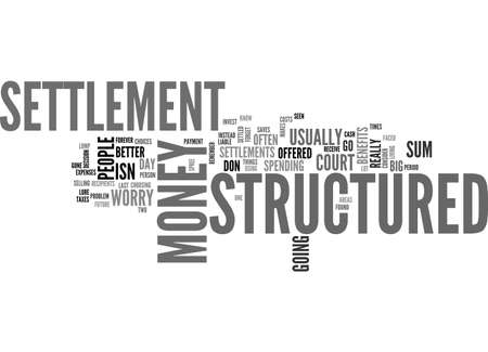 BENEFITS OF STRUCTURED SETTLEMENTS TEXT WORD CLOUD CONCEPT Illustration