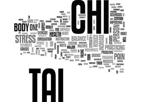 BENEFITS OF TAI CHI TO PEOPLES HEALTH TEXT WORD CLOUD CONCEPT