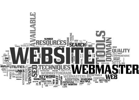 finding: BENEFITS OF WEBMASTER TOOLKIT AND RESOURCES TEXT WORD CLOUD CONCEPT Illustration