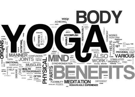 accomplish: BENEFITS OF YOGA TEXT WORD CLOUD CONCEPT Illustration
