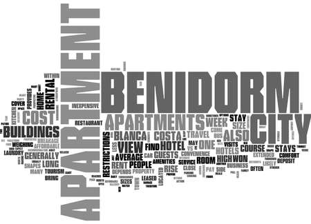BENIDORM APARTMENTS YOUR HOME AWAY FROM HOME TEXT WORD CLOUD CONCEPT