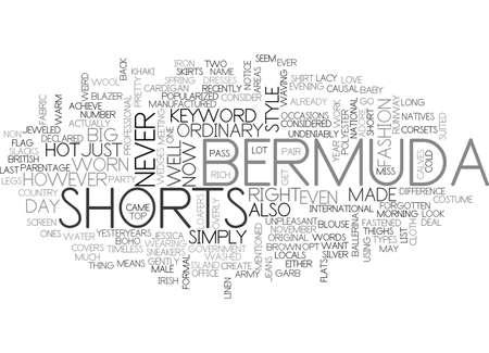BERMUDA SHORTS TEXT WORD CLOUD CONCEPT Ilustração