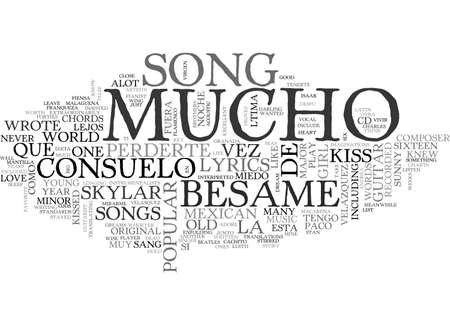 BESAME MUCHO GUITAR CHORDS AND LYRICS TEXT WORD CLOUD CONCEPT