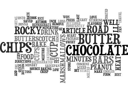 rocky road: BEST COOKIES NO BAKE ROCKY ROAD CHOCOLATE BARS TEXT WORD CLOUD CONCEPT Illustration
