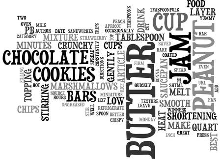 BEST COOKIES PB JAM BARS TEXT WORD CLOUD CONCEPT Illustration