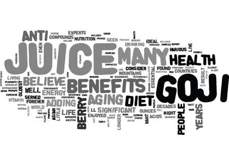 WHAT IS GOJI JUICE AND WHY SHOULD I ADD IT TO MY DIET TEXT WORD CLOUD CONCEPT Stock Vector - 79571627