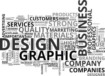 printed material: WHAT IS GRAPHIC DESIGN AND HOW CAN IT HELP MY BUSINESS TEXT WORD CLOUD CONCEPT Illustration