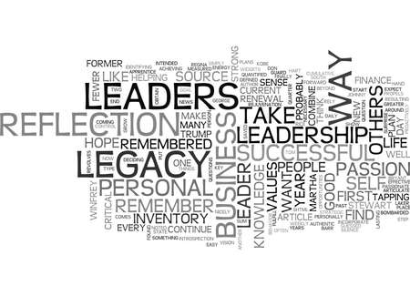 YOUR LEADERSHIP LEGACY TEXT WORD CLOUD CONCEPT Stock Illustratie