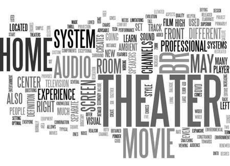 WHAT IS HOME THEATER TEXT WORD CLOUD CONCEPT Illustration
