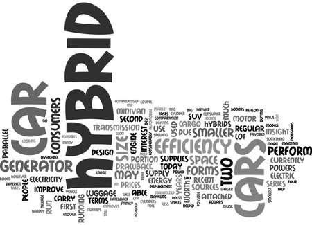WHAT ARE THE TWO DIFFERENT FORMS OF HYBRID CARS TEXT WORD CLOUD CONCEPT