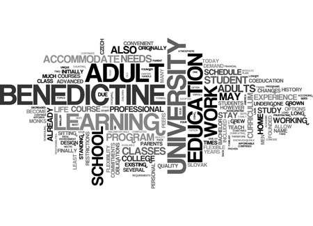 BENEDICTINE UNIVERSITY TOPS OUT AS AMERICA S BEST ONLINE COLLEGE TEXT WORD CLOUD CONCEPT