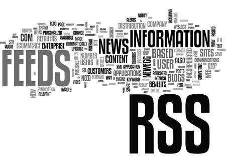really simple syndication: BENEFITS OF RSS IN ECOMMERCE TEXT WORD CLOUD CONCEPT Illustration