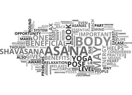 BENEFITS OF SHAVASANA TEXT WORD CLOUD CONCEPT