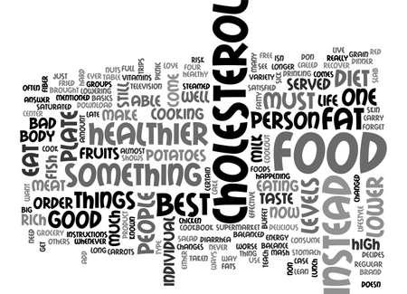 BEST FOOD TO LOWER CHOLESTEROL DIET TEXT WORD CLOUD CONCEPT Illusztráció