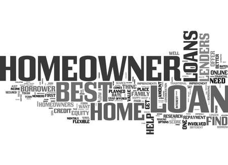 BEST HOMEOWNER LOANS PERFECT PACKAGE FOR HOMEOWNERS TEXT WORD CLOUD CONCEPT 向量圖像