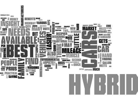 BEST HYBRID CARS TEXT WORD CLOUD CONCEPT