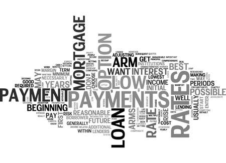 thrown: BEST MORTGAGE RATES AND ARMS TEXT WORD CLOUD CONCEPT