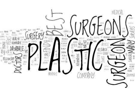 BEST PLASTIC SURGEONS TEXT WORD CLOUD CONCEPT  イラスト・ベクター素材