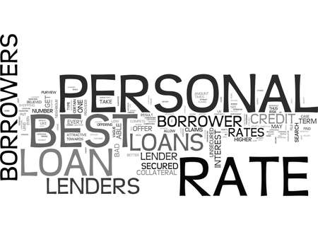 sought: BEST RATE PERSONAL LOANS ONE OF THE MOST SOUGHT AFTER FEATURES TEXT WORD CLOUD CONCEPT