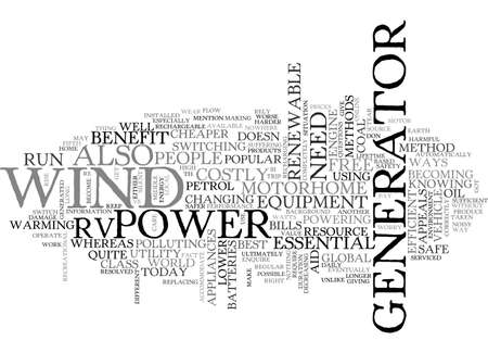 BEST WAY TO POWER YOUR RV TEXT WORD CLOUD CONCEPT