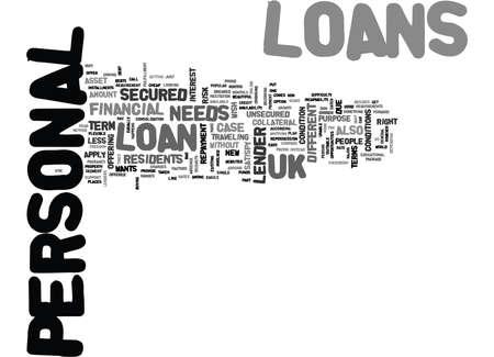 귀하의 필요 대출 융자 영국 개인 융자 텍스트 단어 구름 개념 일러스트