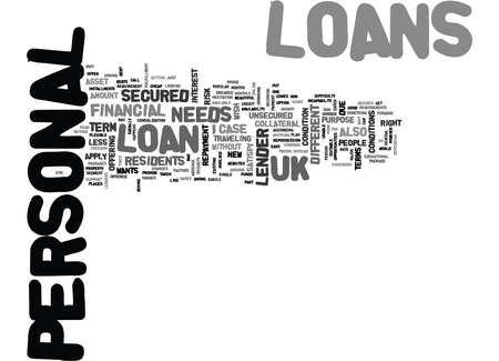 YOUR NEEDSYOUR LOANS UK PERSONAL LOANS TEXT WORD CLOUD CONCEPT Illustration