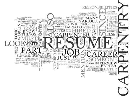 YOUR RESUME SHOULD DESCRIBE YOUR CARPENTRY CAREER TEXT WORD CLOUD CONCEPT