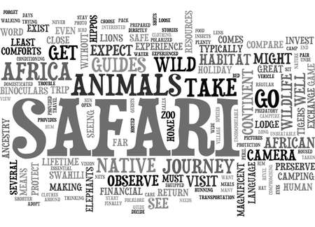 YOUR SAFE VISIT TO THE WILDS OF AFRICA TEXT WORD CLOUD CONCEPT 向量圖像