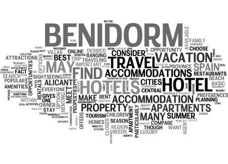 WHERE TO STAY IN BENIDORM SPAIN TEXT WORD CLOUD CONCEPT
